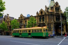Old Melbourne Goal and one of Melbourne's City Circle Tram